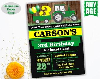 Tractor Fall Birthday Invite Tractor Fall Invitation Tractor Birthday Invite Pumpkin Patch Green Yellow Farm Boy Photo Photograph BDT11