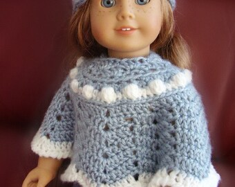 "18 Inch Doll Clothes, Poncho and Hat Set, Light Blue with ""Snowball"" Trim, Hand Crocheted, Made to Fit American Girl or Other 18 Inch  Dolls"