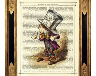 Alice in Wonderland The Mad Hatter Teacup - Vintage Victorian Book Page Art Print Steampunk Color Colour Poster