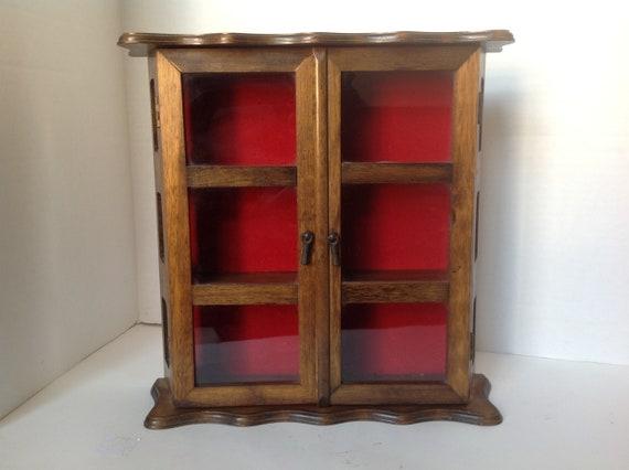 Vintage Curio Wall Display Case/miniatures Cabinet/shadowbox/miniatures/ Vintage Wood Cabinet/curios/wall Display Box/curio Cabinet/cubby Box From  ...