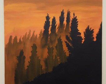 Original Acrylic Painting - sunset mountains