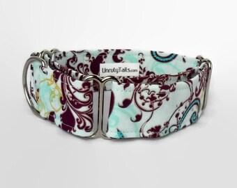 Aqua & Purple Splash Adjustable Dog Collar - Martingale Collar or Side Release Buckle Collar -  Swirls of Blues and purples