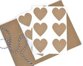 12 Large Kraft Paper Heart Stickers