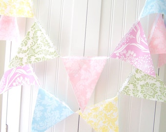 Pastel Banner, Bunting, Fabric Flags, Shabby Chic Wedding Decor, Pink, Green, Blue, Purple, Yellow, Photo Prop, Baby Girl Nursery, Birthday