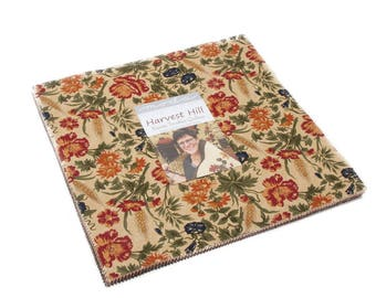 """Moda HARVEST HILL Layer Cake 9550LC 10"""" x 10"""" Quilt Fabric Squares By Kansas Troubles Quilters"""
