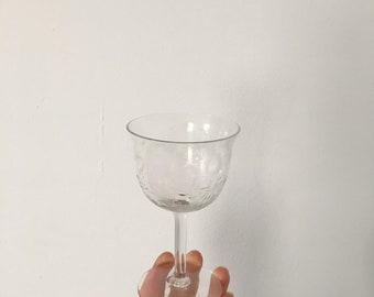 set of 4 Art Deco era cut glass wine glasses