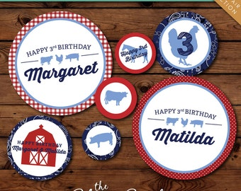 County Fair Printable Party Circles -- Personalized