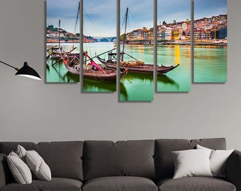 LARGE XL Porto, Portugal Old Town Canvas Print on the Douro River Traditional Rabelo boats Canvas Wall Art Print Home Decoration - Stretched