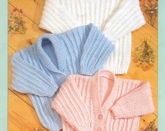 BABY KNITTING PATTERN cardigans and sweaters prem 12 in to 24 in /dk dk instant download