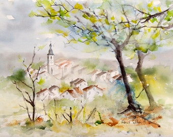 Original watercolour painting of a cityscape of a small French town - houses and church behind trees in the countryside - original painting
