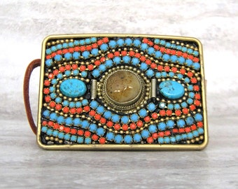 Western Buckle in Turquoise & Coral-Bohemian Beaded Square Women's Belt Buckle (Squash Blossom) Sharona Nissan 4183