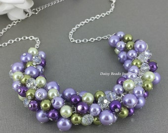 Bridesmaid Gift Olive Necklace Purple Necklace Lilac Necklace Bridesmaid Necklace Wedding Jewelry Gift Idea for Maid of Honor Jewelry