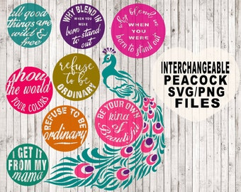 interchangeable peacock svg, quote svg, svg files, cut files, peacock clipart, commercial use svg, png files, vinyl designs, vector art
