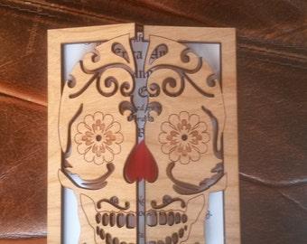 Sugar skull wedding invitation 100/ wood wedding invitation/ engraved wedding invitation / alternative wedding invitation / unique invitatio