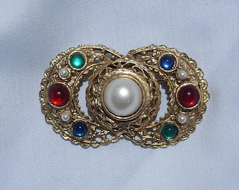 Vintage Red Green Blue Faux Pearl Round Cabochons On Gold Tone Metal Brooch Pin
