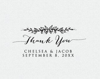 Thank You Stamp - Floral - Wedding Favor Stamp - Thank You Self Inking Stamp - Thank You Rubber Stamp - Thank you Stamp for Weddings (T153)