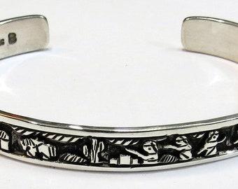 Vintage, Navajo, Sterling Silver Story Bracelet, Signed, for smaller wrist.
