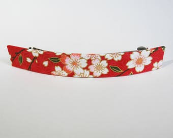 Cherry Blossoms French Barrette, Long Hair Clip, Large Chiyogami Barrette, Red