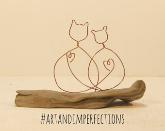 Wire Cat sculpture, driftwood sculpture. Wedding, engagement, anniversary gift. hand crafted loving cats driftwood sculpture.
