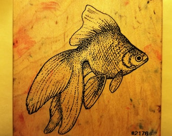 Large Goldfish Rubber Stamp