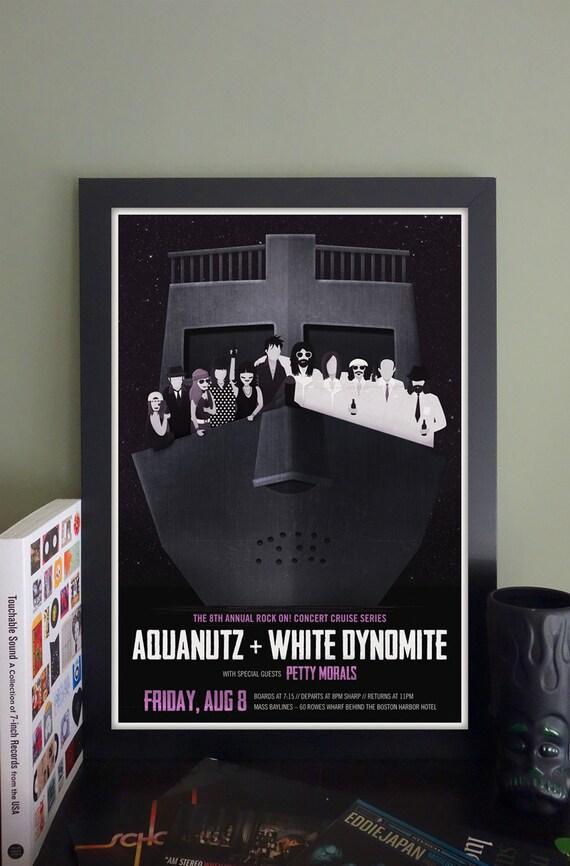 """Aquanutz/White Dynomite/Petty Morals Booze Cruise Gig Poster // Boston, MA 13""""x19"""""""