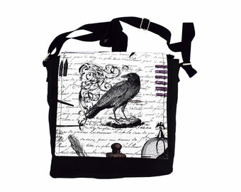 Edgar Allan Poe Handbag. The Raven themed messenger style shoulder bag. Perfect gift idea for lovers of the Gothic and classic literature.