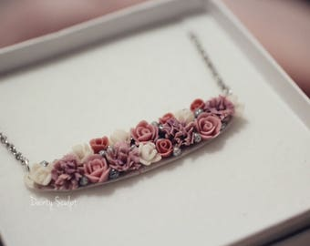 Floral polymer clay necklace