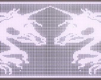 "Filet Crochet Pattern ""Unicorn Union', pdf, instant download"