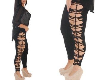 Womens Black Legging and Tights Plus Size and Regular Size  Rocker Cut Leggings