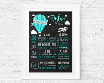 First birthday chalkboard sign, 1 year old baby memories, 1st Birthday Sign Blackboard one year old, '' Hot air balloons flowers girl ''