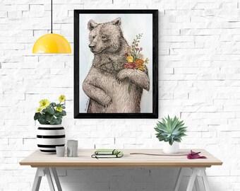 Bear Illustration/ Pen/ Flowers/ Watercolour/ Drawing