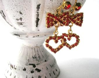 Vintage Red Rhinestone Heart/Bow Earrings - Vintage Earrings