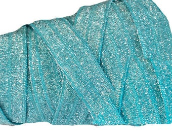 """5/8"""" Turquoise Blue with silver Shimmer ~ FOE ~ Fold Over Elastic ~ Metallic ~ Headbands ~ Trim ~ Sparkle ~ 5/8 inch"""
