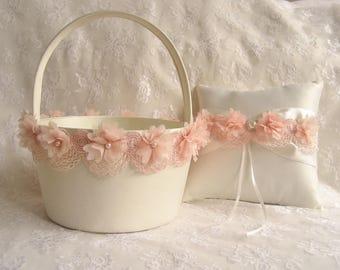 LARGE Blush Flower Girl Basket and Ring Bearer Pillow Blush Cream or White  Huge Very Large Flower Girl Basket  Wedding