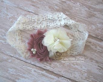 Mauve headband, dusty rose headband, mauve gold ivory, mauve and ivory, mauve and gold, ivory and gold, baby headband, dusty rose headband