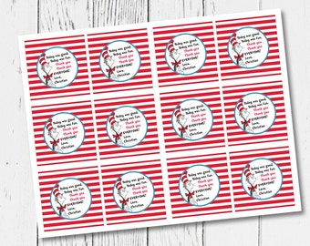 Personalized Cat in the Hat Thank You Tags (digital file)