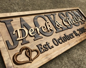 Personalized Wedding Gift Last Name Sign Established Sign Custom Wood Sign 5th Anniversary Gift Women Gift Bridal Shower Gift Wedding Signs