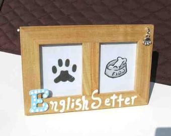 Final Markdown Sale...ENGLISH SETTER Dog Breed Wood Desktop Double Photo Frame w/Pawprint Charm