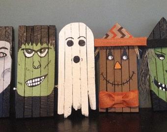 Halloween Decorations, Set of 5 Halloween Characters, Vampire, Witch, Ghost, Frankenstein, Scarecrow, Halloween Wall Art,