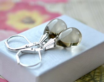 Grey Teardrop Earrings, Grey Bead Earrings, Small Leverback Earrings, Tear Drop Jewellery, Everyday Earrings, Mothers Day Gift, For Women UK