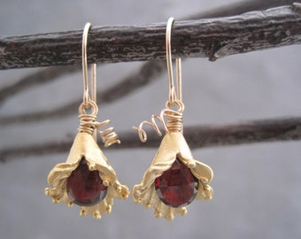 Garnet Earrings  - Dangles - Birthstone Jewelry -Woodland -Blooming Flower - Drop Earrings - Gold Flower Buds