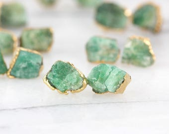 emerald earrings | raw emerald studs | may birthstone earrings | may birthstone studs | gold emerald stud earrings | raw crystal earrings