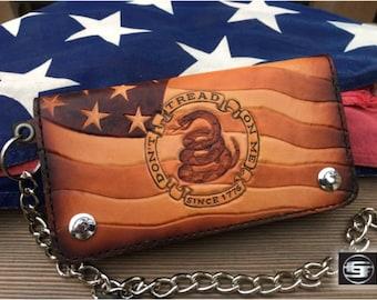 Don't Tread On Me / Leather Patriotic Biker Wallet