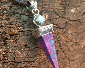 High Vibrational Purple Mohave Turquoise & Fire Opal 925 Silver Pendant