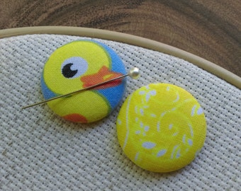 Needle Minder - Duck, 2 Piece Reversible Scout and Remy, For Cross Stitch, Sewing, Embroidery, Quilting