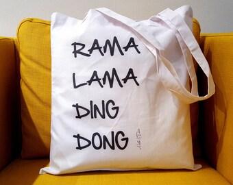"""Cotton bag//fabric bag """"Rama, Lama, Ding..."""""""