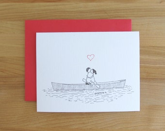 Canoodle Doodles No. 36 - Canoeing On A Lake / Romantic Valentine's Day Birthday Anniversary Engagement or Bridal Shower card for Him or Her