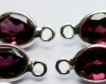 925 Sterling Silver,Natural Rhodonite Garnet Facated Oval Connector,4 Piece of 15mm