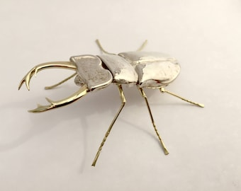 Stag beetle replica-14 k gold & 925 Silver-full size
