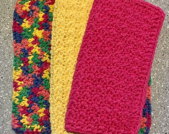 Crocheted Dishcloths Washcloths 3 Pk Set Pink, Yellow, Multicolored Eco Friendly Reusable Cleaning